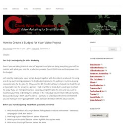 How to Create a Budget for Your Video Project