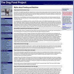 The Dog Food Project - Myths about Dog Nutrition