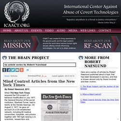 The Brain Project by Robert Naeslund - Mind Control Articles from the New York Times