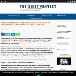 The Shift Project plaide pour un renforcement des outils de politique climat