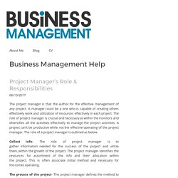 Project Manager's Role & Responsibilities - businessmanagementhelp
