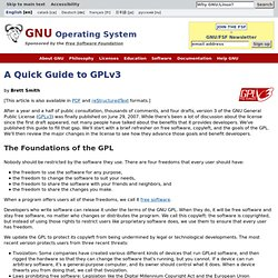 Guide rapide de la GPLv3 - Projet GNU