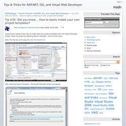 Tips & Tricks for ASP.NET, IIS, and Visual Web Developer : T