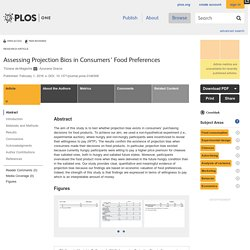 PLOS 01/02/16 Assessing Projection Bias in Consumers' Food Preferences