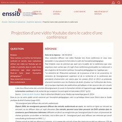 Projection d'une vidéo Youtube dans le cadre d'une conférence