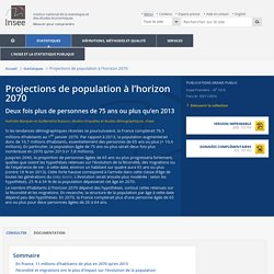 Projections de population à l'horizon 2070