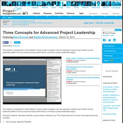 ProjectManagement.com - Three Concepts for Advanced Project Leadership