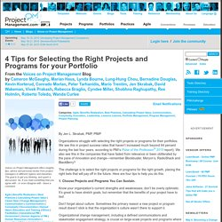 4 Tips for Selecting the Right Projects and Programs for your Portfolio