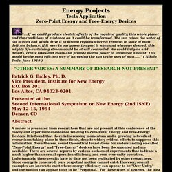 Energy Projects - Tesla Application - Zero-Point Energy and Free-Energy Devices
