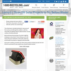 Lorna Li: Three DIY Solar Projects to Try Before Winter - 1-800-Recycling