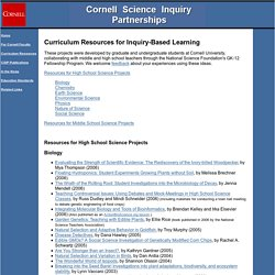CSIP Student Inquiry Projects - Science Lesson Plans and Curriculum Resources