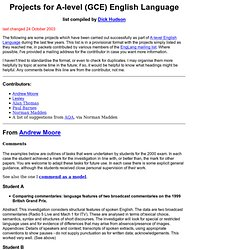 projects for GCE English Language