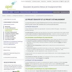Le projet éducatif et le projet d'établissement- Apel
