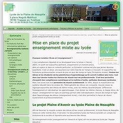 Mise en place du projet enseignement mixte au lycée - Lycée de la Plaine de Neauphle