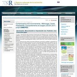 ANR - 2013 - Fiche projet - CESA - Contaminants et Environnements : Métrologie, Santé, Adaptabilité, Comportements et Usages (CE
