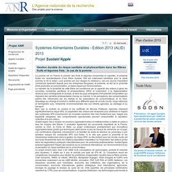 ANR - Systèmes Alimentaires Durables - Edition 2013 (ALID) 2013 - Projet Sustain'Apple