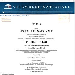 N°3318 - Projet de loi pour une République numérique