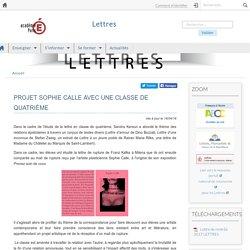 PROJET SOPHIE CALLE AVEC UNE CLASSE DE QUATRIÈME