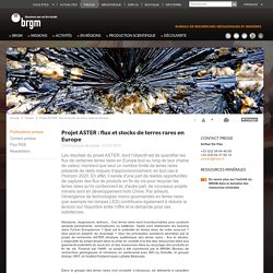 Projet ASTER : flux et stocks de terres rares en Europe