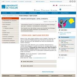 Projets artistiques : Appel à projets - Université de Toulon