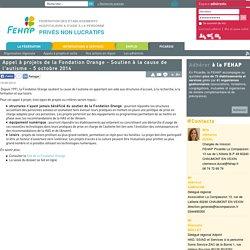 Appel à projets de la Fondation Orange - Soutien à la cause de l'autisme - 5 octobre 2014