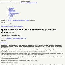 Actu: Appel à projets du SPW en matière de gaspillage alimentaire (11-2015)