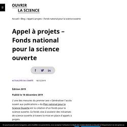 Appel à projets – Fonds national pour la science ouverte