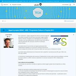 Appel à projets DRAC - ARS : Programme Culture à l'hôpital 2011