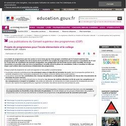 Projets de programmes pour l'école élémentaire et le collège