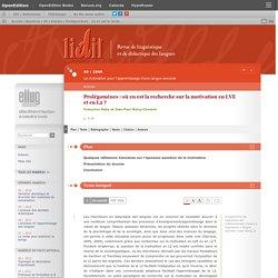 Prolégomènes: où en est la recherche sur la motivation en LVE et en L2?