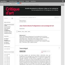 Jean-Charles Bérardi, Prolégomènes à une sociologie de l'art