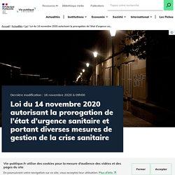 Loi 14 novembre 2020 prolongation état urgence sanitaire 16 février 2021