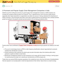 5 Prominent and Popular Supply Chain Management Companies in India