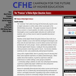 "The ""Promises"" of Online Higher Education: Access - Campaign for the Future of Higher Education"