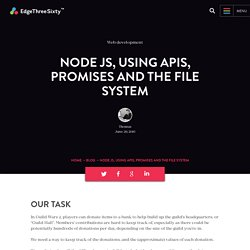 Node JS, Using APIs, Promises and the File system