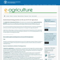Good and promising practices on the use of ICTs for Agriculture