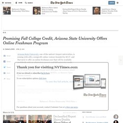 Promising Full College Credit, Arizona State University Offers Online Freshman Program