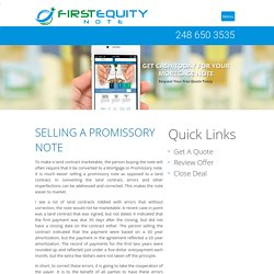 How to Sell a Promissory Note - First Equity Note, LLC