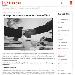 15 Ways To Promote Your Business Offline
