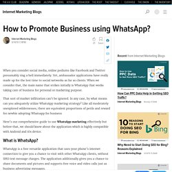 How to Promote Business using WhatsApp?