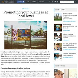 Promoting your business at local level