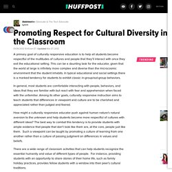 Promoting Respect for Cultural Diversity in the Classroom