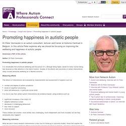 Promoting happiness in autistic people