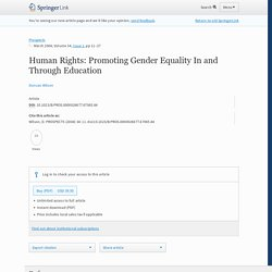 Human Rights: Promoting Gender Equality In and Through Education