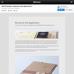 Self Promotion: Résumé & Job Application on Behance