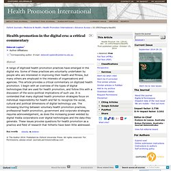 Health promotion in the digital era: a critical commentary