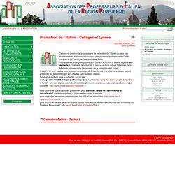 Promotion de l'italien - Collèges et Lycées - APIRP