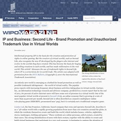 IP and Business: Second Life - Brand Promotion and Unauthorized Trademark Use in Virtual Worlds