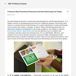 5 Reasons Why Promotional Postcards Is the Best Advertising Tool Today!