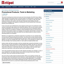 Promotional Products: Tools to Marketing
